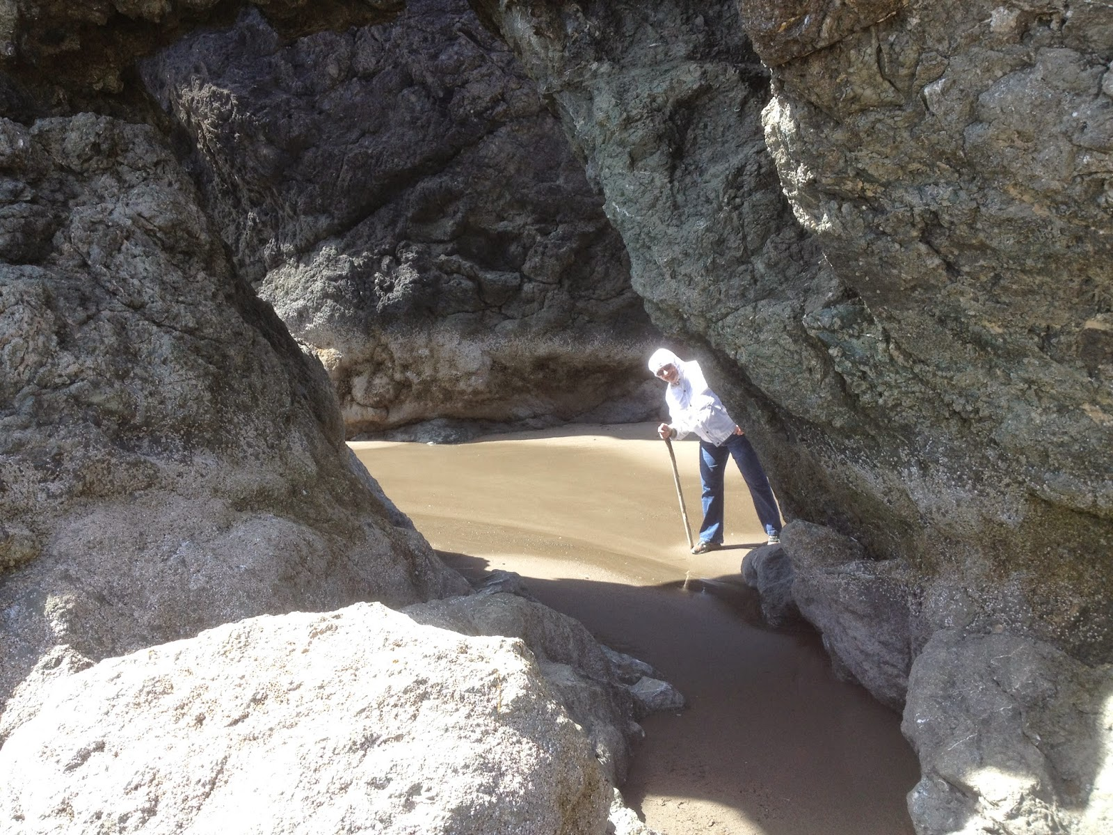 An arched rock on Pacific Ocean beach