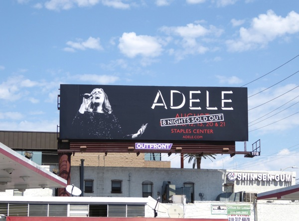 Adele 8 nights sold out LA concert billboard