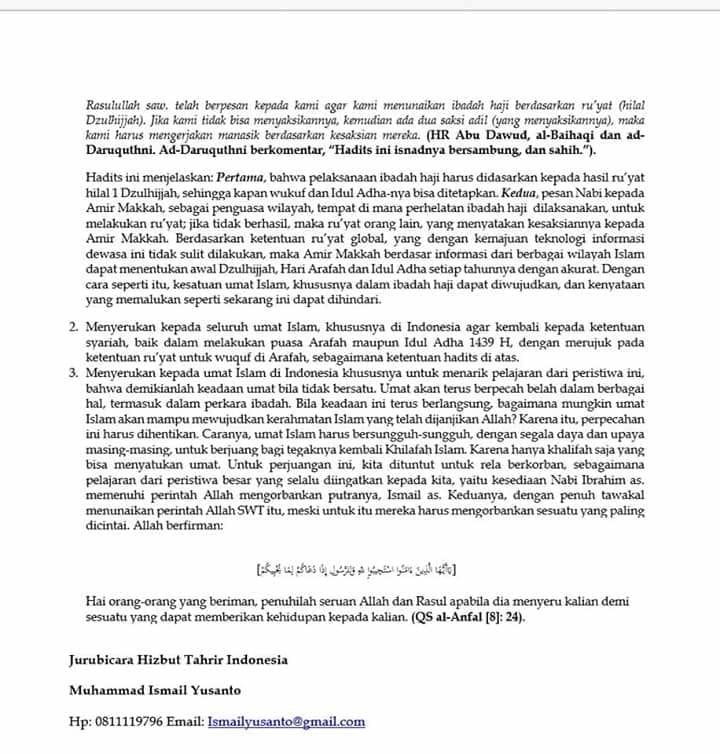 Jubir HTI Kritik Penetapan Idul Adha, Ujung-ujungnya