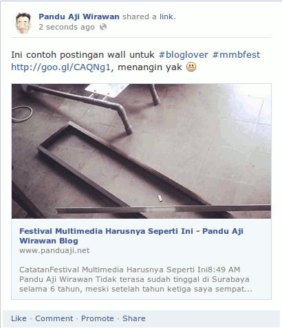 contoh posting di wall facebook mmbfest