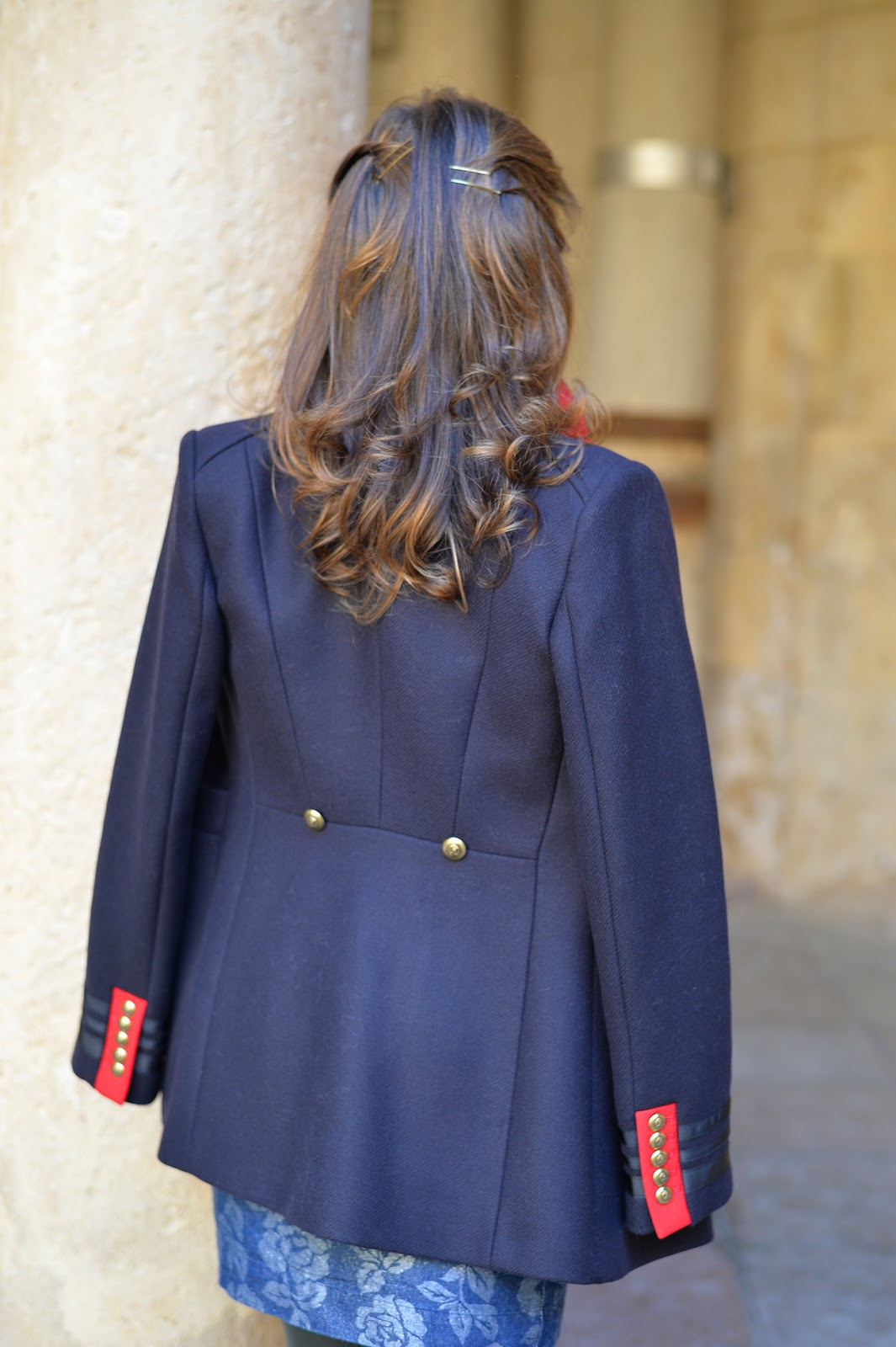 zara military coat fashion outfit
