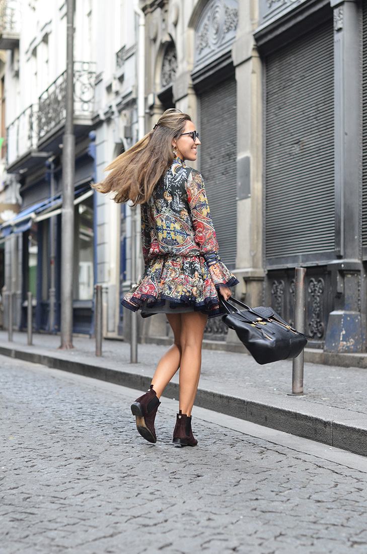 Streetstyle - Boho dress from H. Preppy, Massimo Dutti boots, Dior Sunglasses, Philip Lim Bag in the streets of Porto