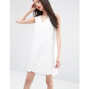 Denim white tunic dress with cutwork hem, $65 from ASOS