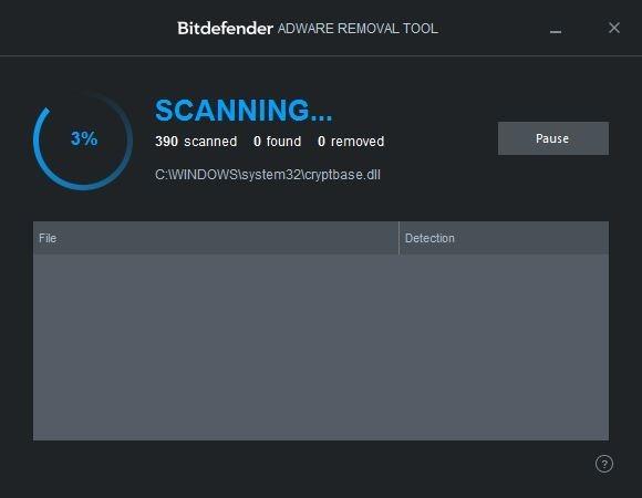 Bitdefender Adware Removal Tool quét và loại bỏ phần mềm quảng cáo cho máy tính