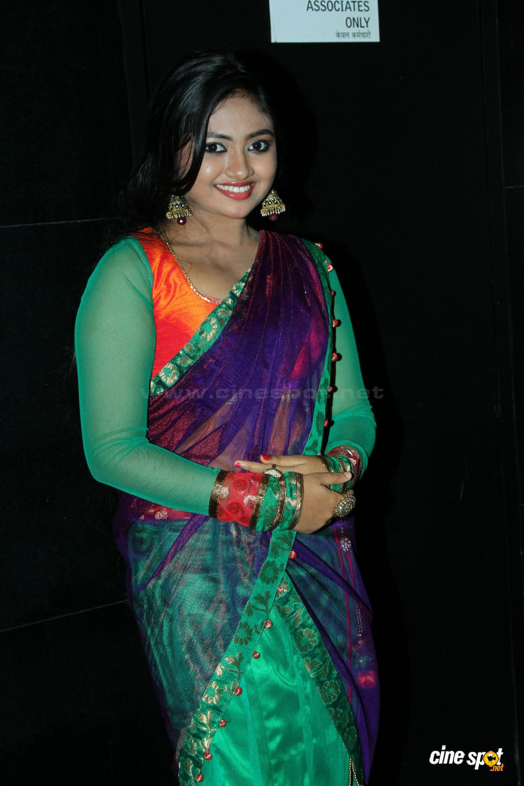 Mallu Actress Shalin Hot Navel Show In Saree - All -8890
