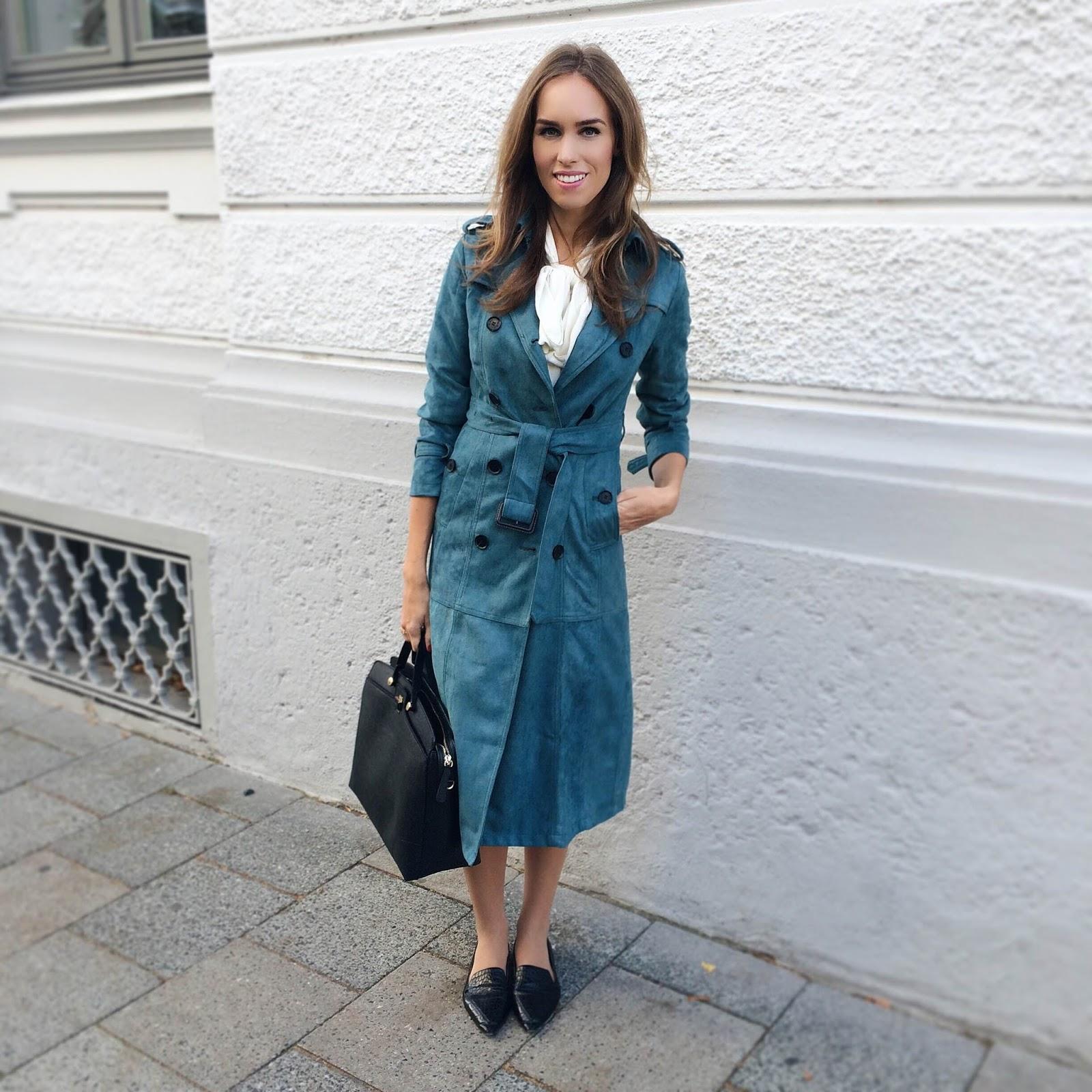 kristjaana mere suede coat neck bow blouse fall fashion