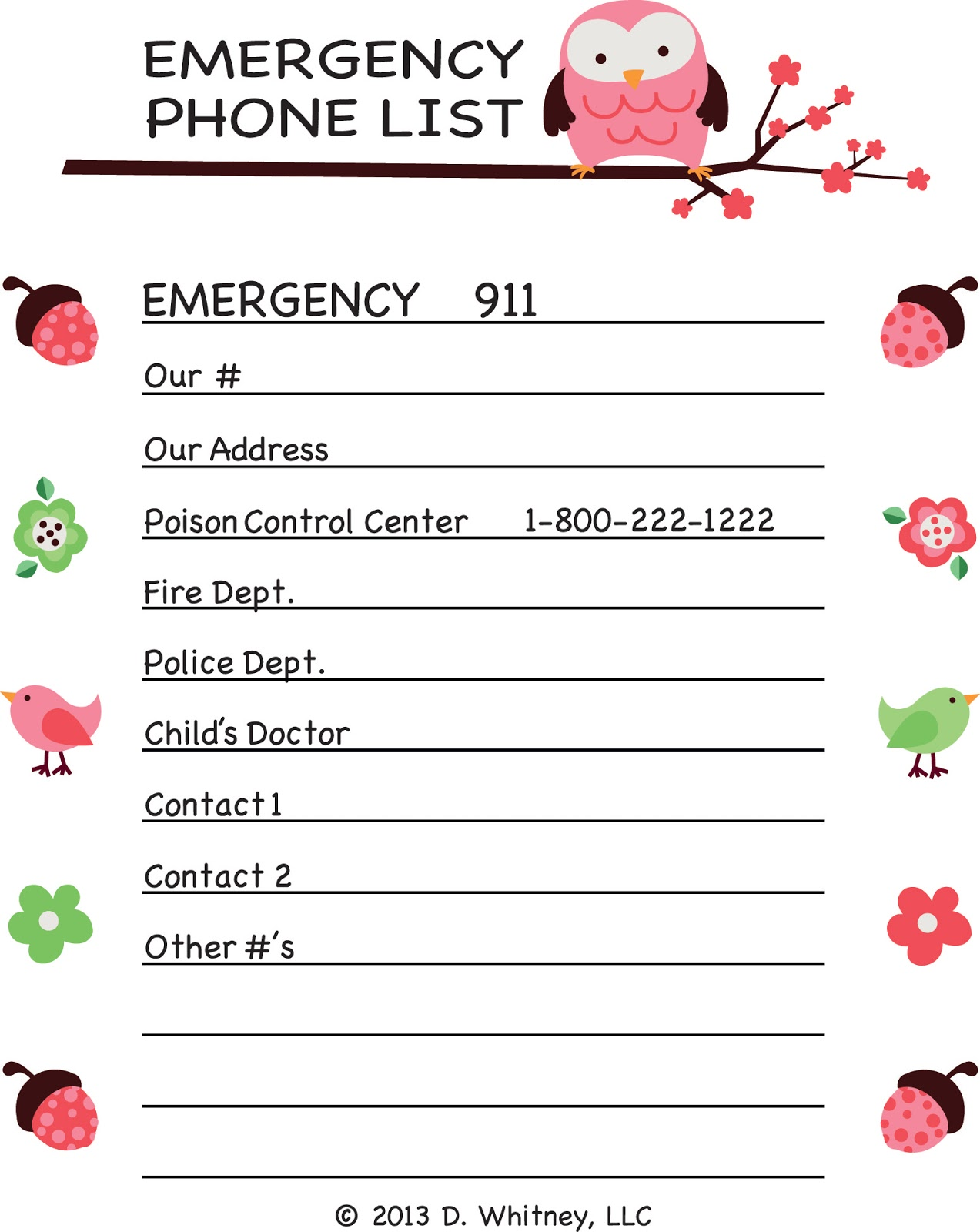 emergency phone list coloring pages - photo#2