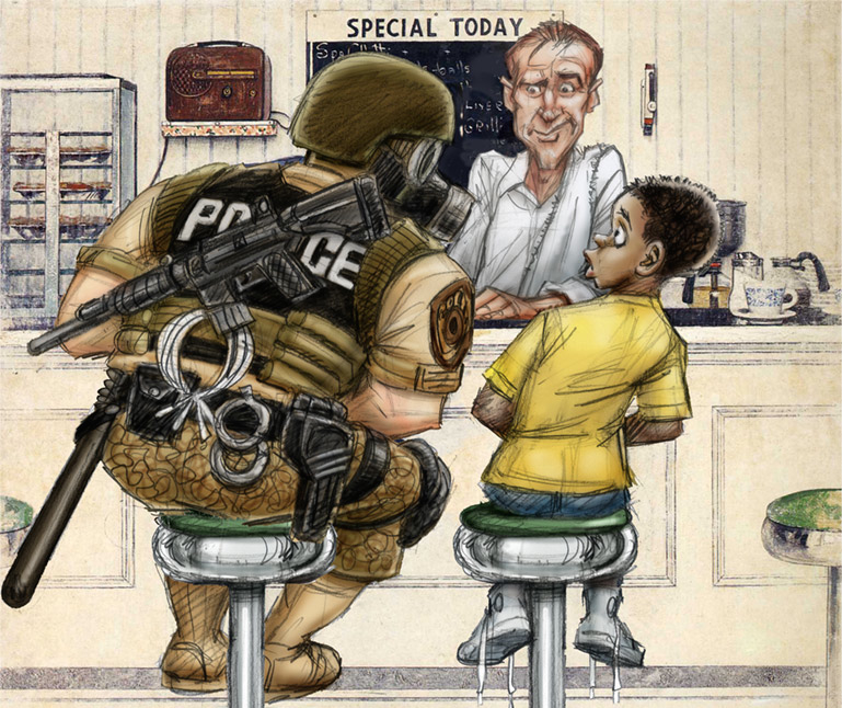 The Militarization of Officer Joe by Desmond Devlin.  From MAD Magazine.