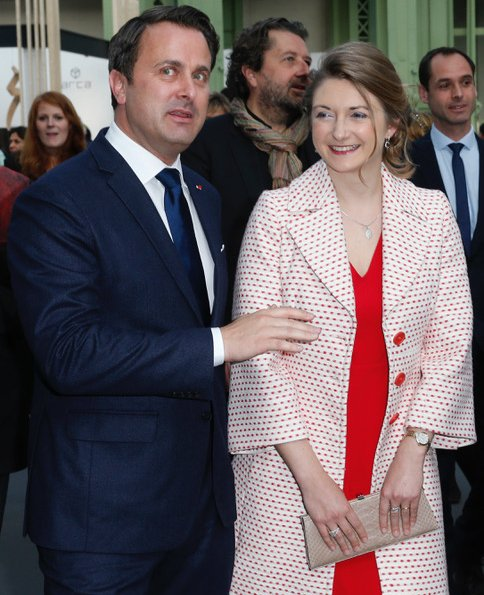 Princess Stephanie wore Paule KA  white red dotted jacket. Also,  Paule Ka pink dress under the coat. Princess Stephanie style, fashion