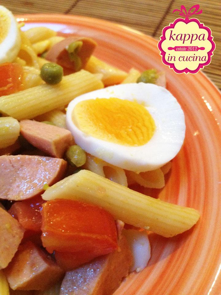 Ben noto Pasta fredda piselli, wurstel, uova e pomodoro - K in cucina YY69