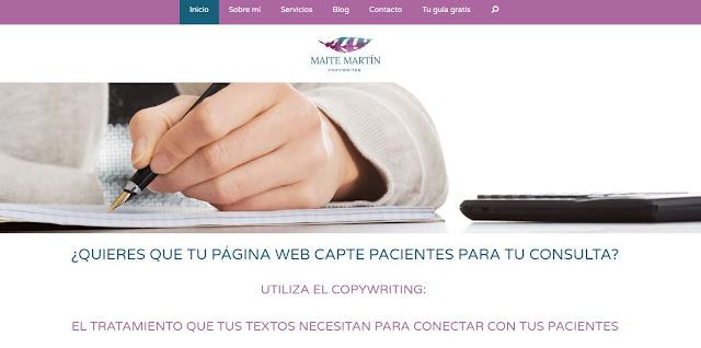 Captura web Maite Martin copywriter especializada en salud