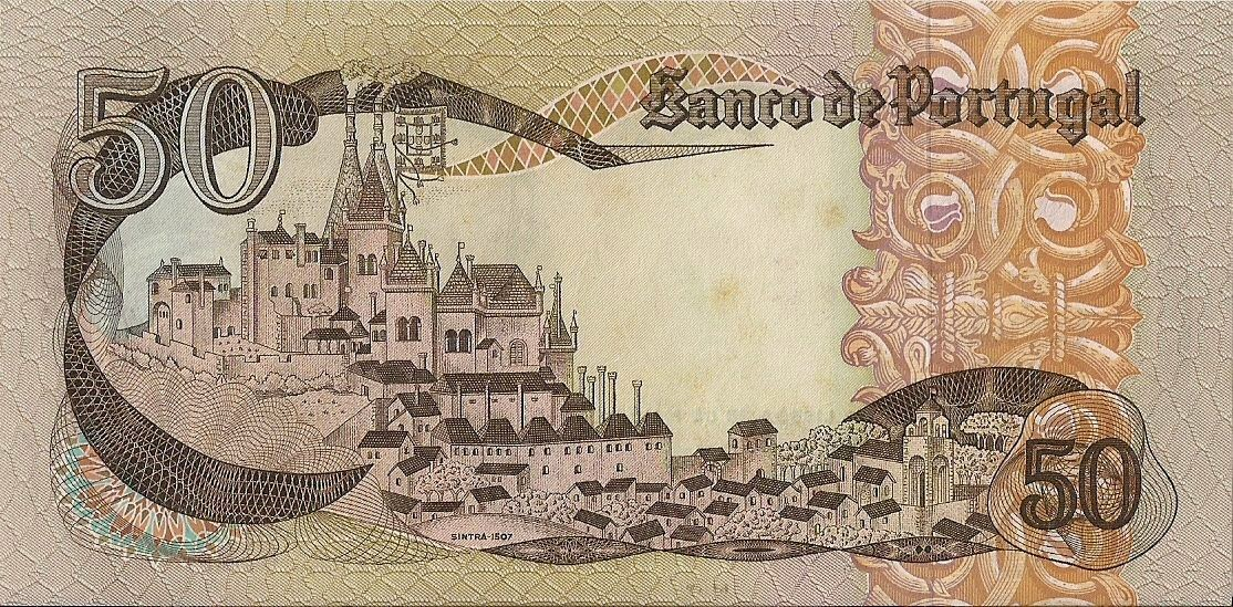 Portugal money currency 50 Escudos banknote 1968 Sintra Royal Palace