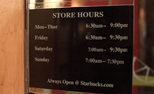 Starbucks Hours Of Operation Food Menu Prices