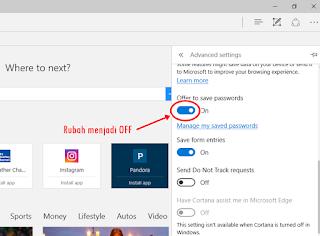Cara Membuat Browser berhenti Meminta Save Password pada Microsoft Edge