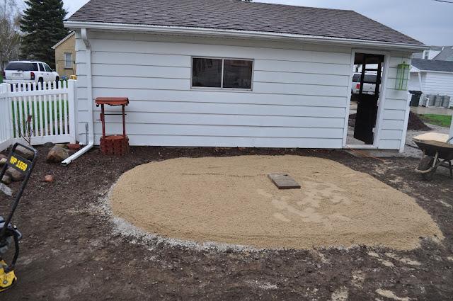 mulch, sod cutter, patio, pavers, DIY, landscaping, reno, pea gravel, dark brown shredded mulch, sand, compactor
