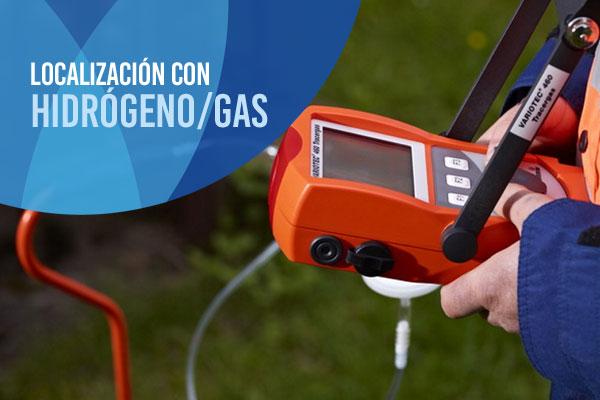Localización de fugas de agua con hidrógeno/gas trazado