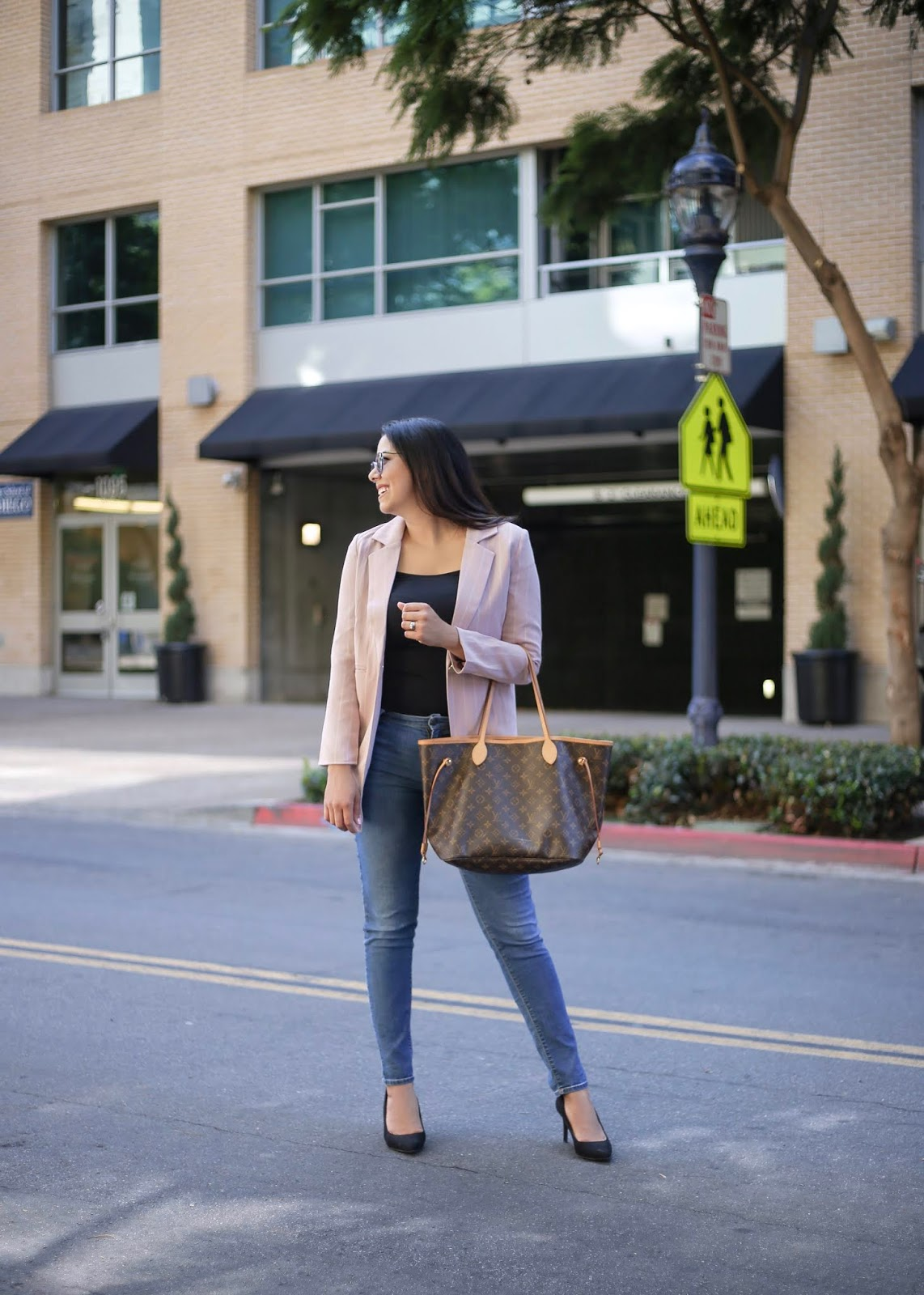how to wear a pink blazer, blazer and jeans outfit, Downtown San Diego blogger