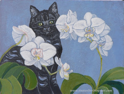 "Hide and Seek, 11""x 14"" acrylic on 140lb paper ©2016 Tina M. Welter  Black cat hiding behind white orchids on the windowsill."