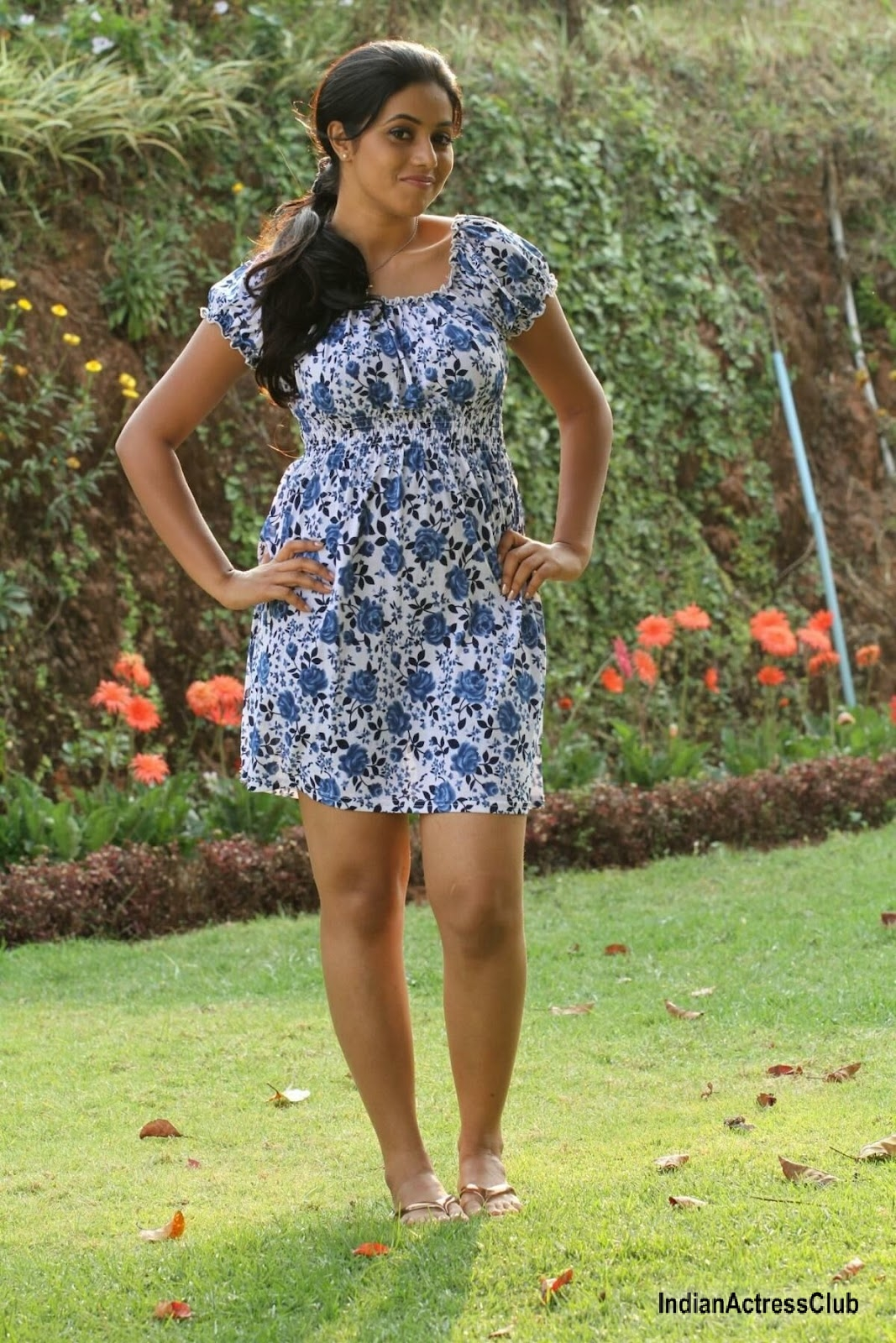 Poorna In Latest Photoshoot Wearing Floral Mini Gown -9752