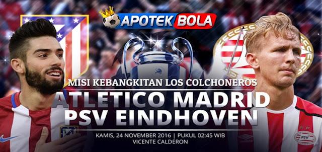Prediksi Pertandingan Atletico Madrid vs PSV Eindhoven 24 November 2016