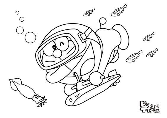Tranh cho bé tô màu Doraemon bơi dưới đại dương