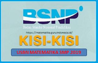 Download Kisi-kisi USBN Matematika SMP 2019