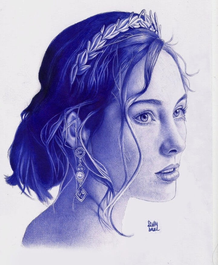 07-Expectant-Look-Sonia-Davel-Indelible-Ballpoint-Pen-Portraits-www-designstack-co