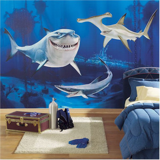 Childrens wall murals Sharks
