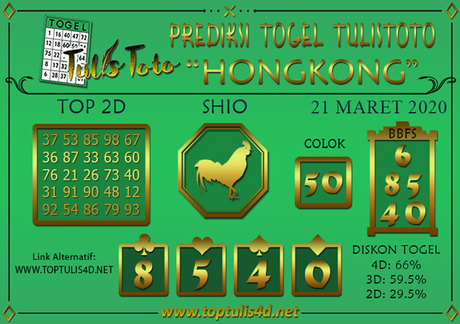 Prediksi Togel HONGKONG TULISTOTO 21 MARET 2020