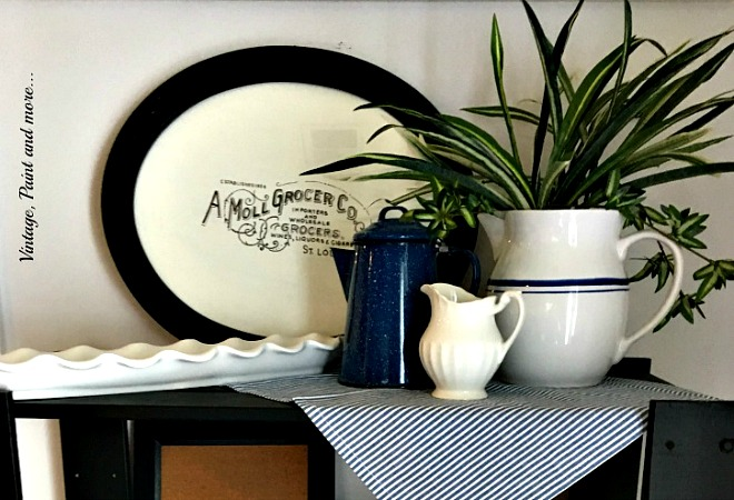 Vintage, Paint and more... a farmhouse vintage shelf using ironstone, splatter ware and a diy vintage sign
