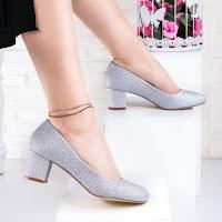 Pantofi cu toc gros dama argintii glitter Soralia