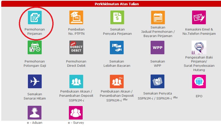 Portal semakan status permohonan PTPTN online