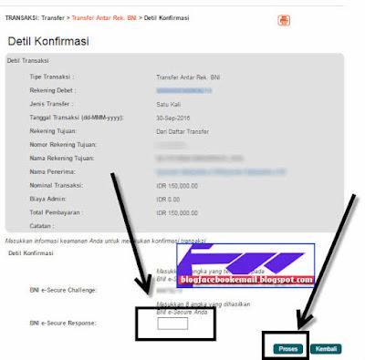 transfer online ke Rek BNI menggunakan BNI e-secure