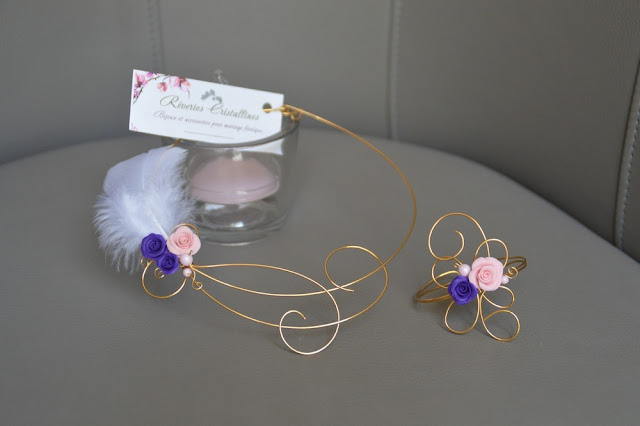 bijou plume roses plaqué or