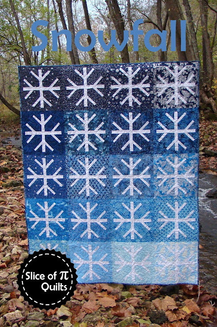 Snowfall snowflake ombre quilt pattern