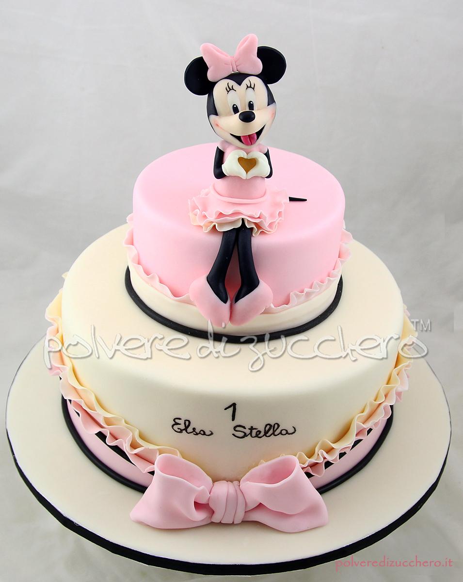 cake design pasta di zucchero minnie disney torta a piani 1 compleanno bimba fondant polvere di zucchero