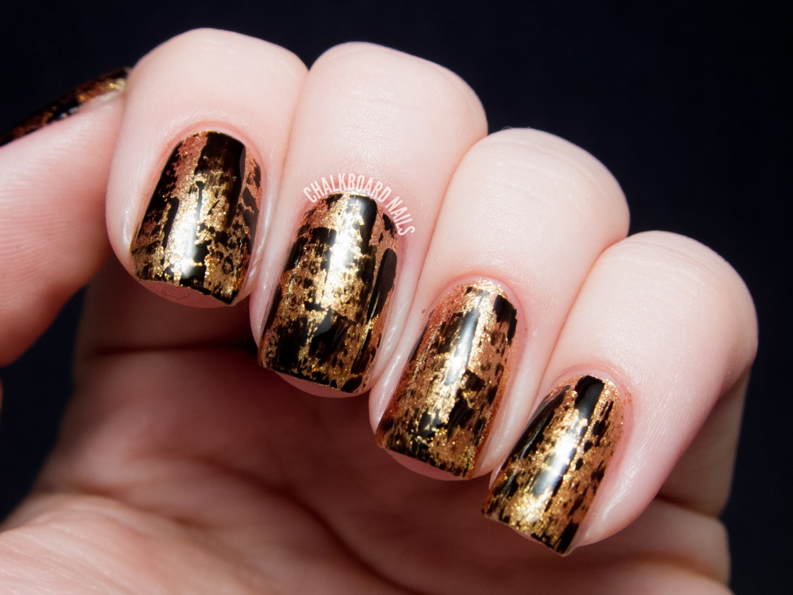 Party Perfect: Black and Gold Nail Art Ideas | Chalkboard ...