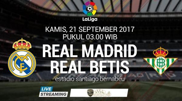 Prediksi Bola : Real Madrid Vs Real Betis , Kamis 21 September 2017 Pukul 03.00 WIB @ SCTV