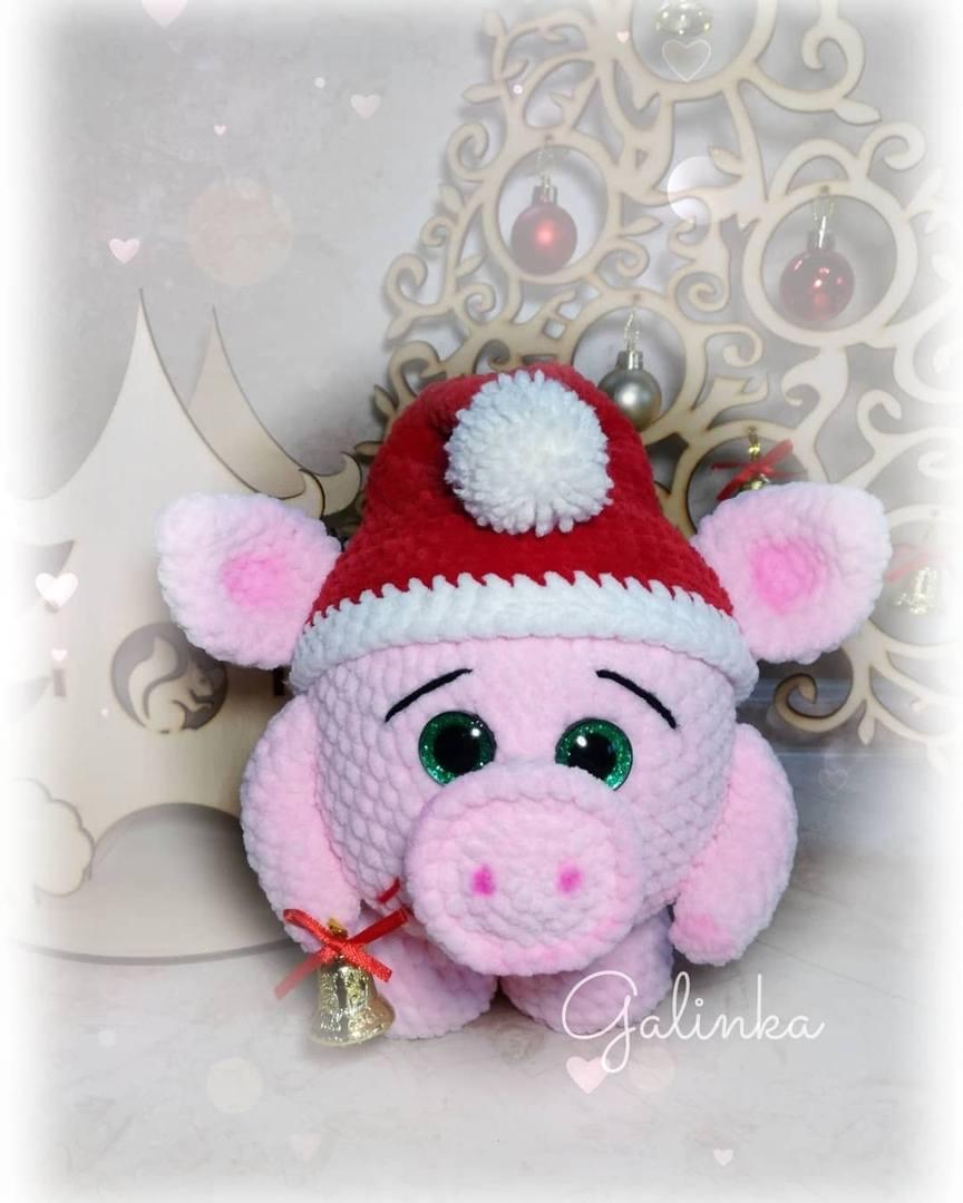 новогодняя свинка крючком схемы амигуруми