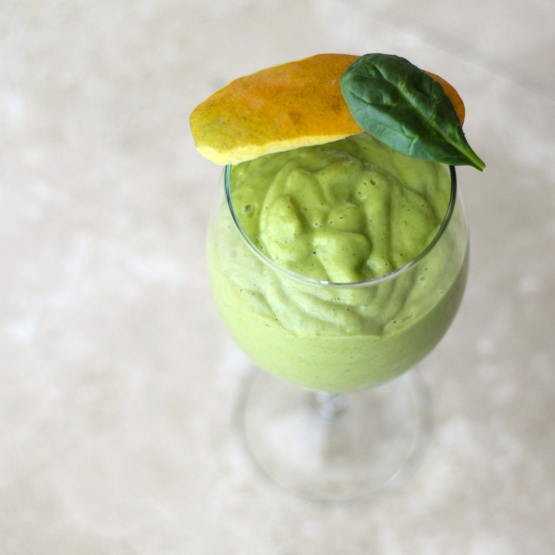 Healthy Green Mango Lassi (no sugar added, fat free, high protein) - Healthy Dessert Recipes at Desserts with Benefits