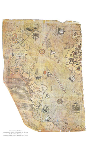 Ancient map of the world showing Antarctica.