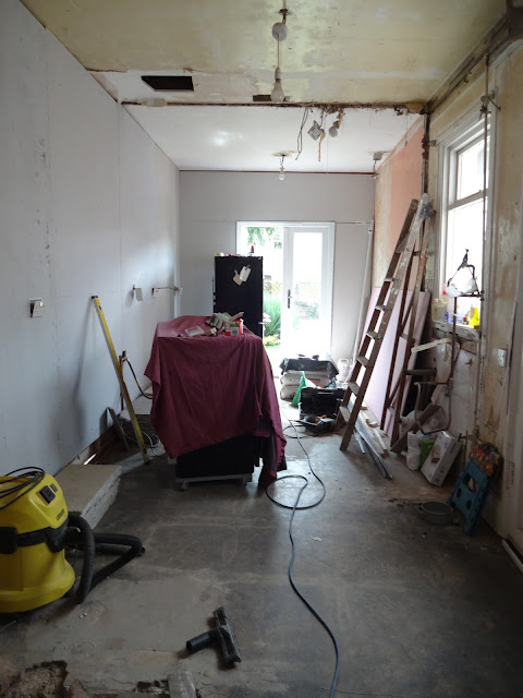progress on the kitchen renovation - diy plaster boarding