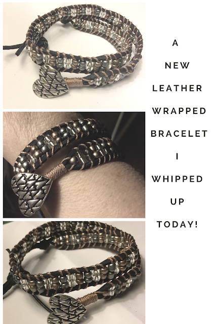 Leather Beaded Wrapped Bracelet