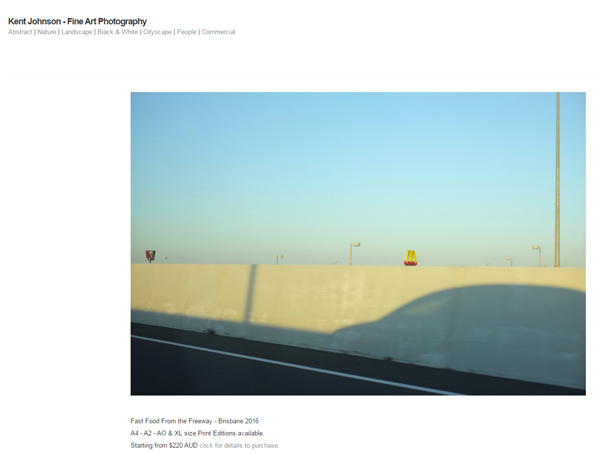 Screen shot of the website Kent Johnson - Fast Food From the Freeway - Brisbane 2016 - Fine Art Photography.
