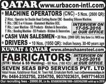 Required for Qatar   Interview in Kerala   Gulf Job Alerts