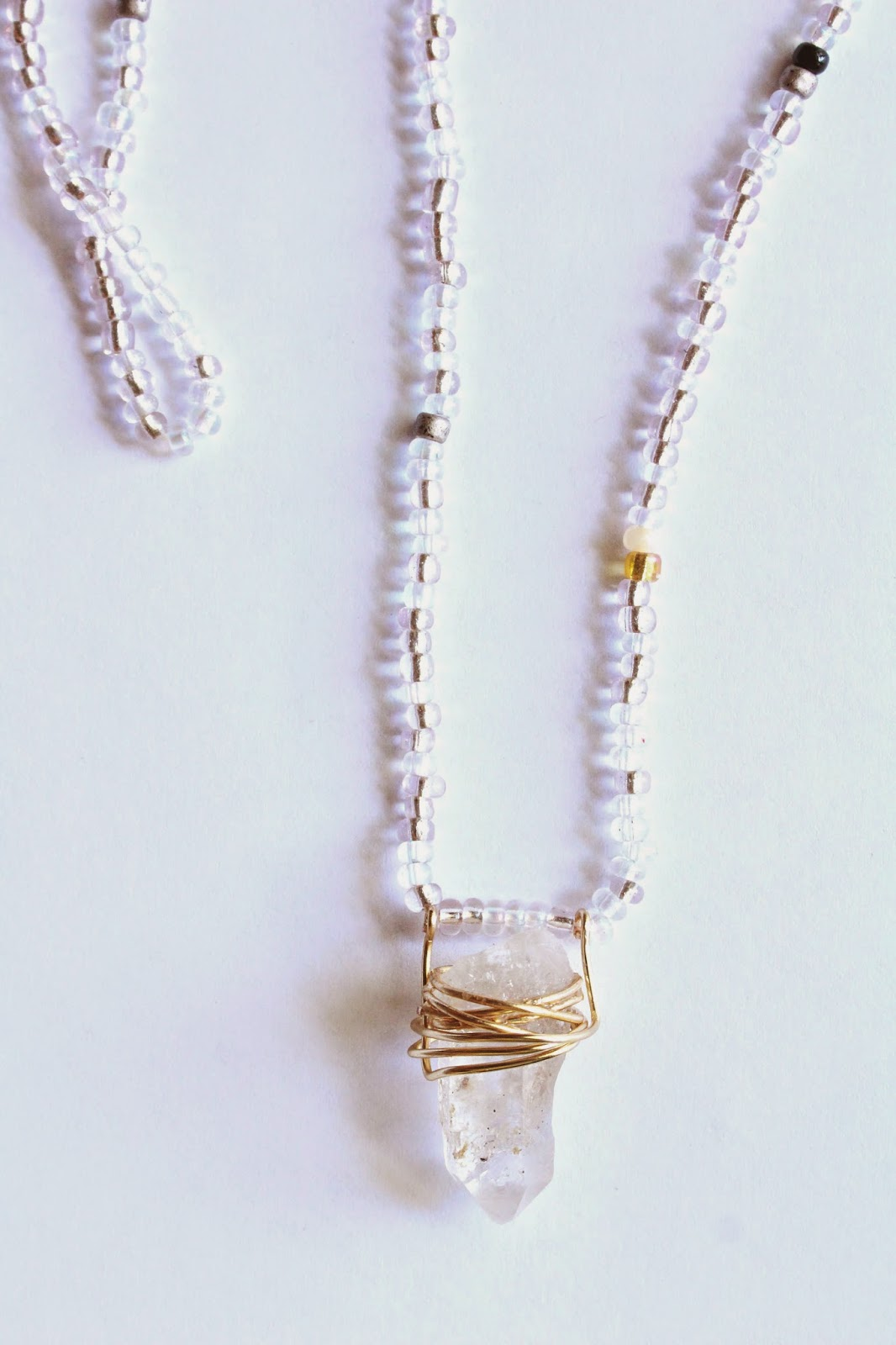 diy: Beaded Crystal Stone Necklace