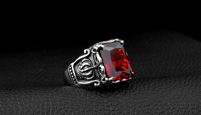 nhẫn inox nam đính đá