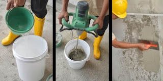 Penggunaan Mortar Instan, Tambahkan Air, Aduk Rata, Aplikasikan