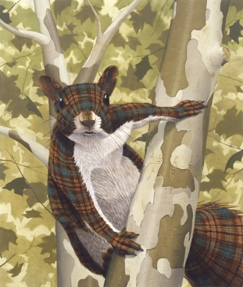 06-Golden-Section-Sean-Landers-Paintings-of-Animals-that-Swap-their-Fur-for-Tartan-Coats-www-designstack-co