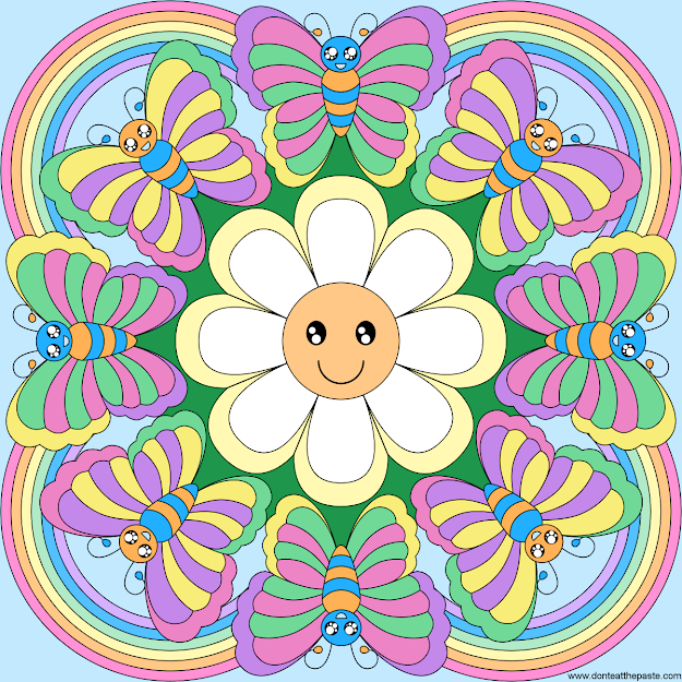 Rainbows Flowers And Butterflies Mandala Blank Version Available In   And Transparent  To Color Colour It Sew It Trace It Etc